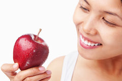 Woman holding red apple Stock Photography