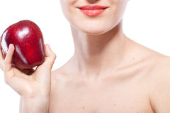 Woman holding red apple isolated on white Stock Photography