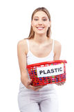 Woman Holding Red Basket Stock Photography