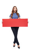 Woman holding red blank cardboard Royalty Free Stock Photography