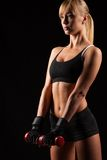 Woman Holding Red Dumbbells Royalty Free Stock Photography