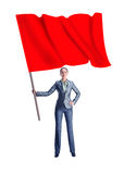 Woman holding a red flag Stock Images