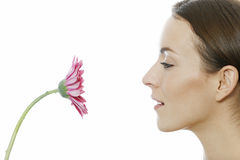 Woman holding red flower Stock Image