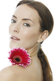 Woman holding red flower Stock Photos