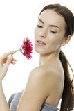 Woman holding red flower Stock Photo