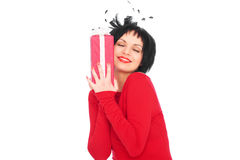 Woman holding red gift box Stock Image