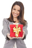 woman holding a red gift box Royalty Free Stock Image