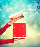 Woman holding a red gift box Stock Photography