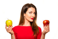 Woman Holding Red and Green Apple Fruit Smiling Isolated on Whit Stock Image