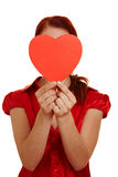 Woman holding red heart Royalty Free Stock Photo