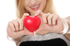 Woman holding red heart Stock Photo