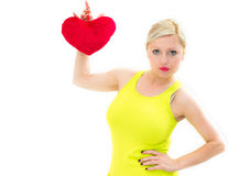 Woman holding a red heart Royalty Free Stock Image