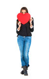 Woman holding a red heart Royalty Free Stock Photography