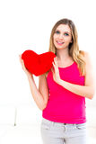 Woman holding a red heart Stock Photo