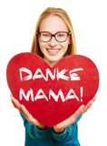 Woman holding red heart for mothers day Royalty Free Stock Photography