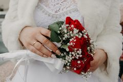 Woman Holding Red Rose Bouquet stock images