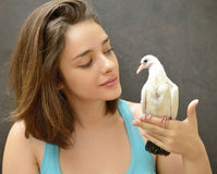 Woman holding a rescue baby pigeon. Young woman helping rescue a baby pigeon royalty free stock photography
