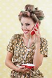 Woman Holding Retro Phone Royalty Free Stock Photography