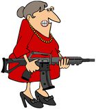Woman holding a rifle. This illustration depicts a smirking woman holding an assault type rifle Royalty Free Stock Images
