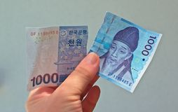 South Korean currency-1000 won, ripped apart- worthless