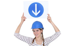Woman holding a road sign Stock Images
