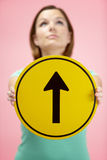 Woman Holding Road Traffic Sign Royalty Free Stock Photo