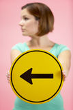 Woman Holding Road Traffic Sign Royalty Free Stock Images