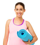 Woman Holding Rolled Up Exercise Mat Stock Photo