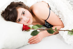 Woman holding rose Royalty Free Stock Photography
