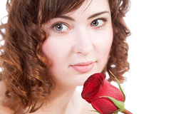 Woman holding rose Royalty Free Stock Photos