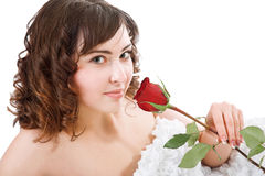 Woman holding rose Stock Photo