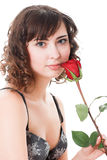 Woman holding rose Stock Images