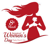 Woman Holding a Rose with her Hands in Women's Day Commemoration, Vector Illustration. Women's Day design with a woman with long hair silhouette holding a rose Royalty Free Stock Image