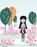 Woman holding a rose rose garden vector Stock Photography