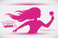 Woman Holding a Rose Silhouette for Women's Day, Vector Illustration Royalty Free Stock Photo