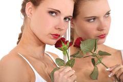 Woman holding rose Royalty Free Stock Photo