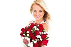 Woman holding roses Royalty Free Stock Photos