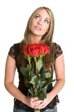 Woman Holding Roses Royalty Free Stock Photography