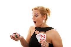 Woman holding Royal Flush Stock Photography