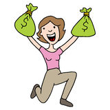 Woman holding runaway savings money bag. An image of a woman with runaway savings moneybag Stock Photos
