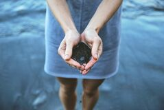 Woman holding sand at beach stock images