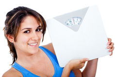 Woman holding a scale Stock Image