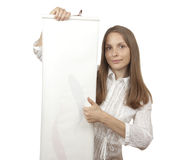 Woman holding scroll Stock Image