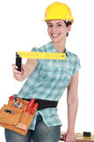 Woman holding set square Royalty Free Stock Image