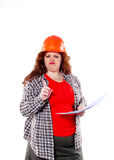 The woman holding a sheet or project isolated on the white background Royalty Free Stock Photo