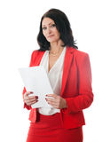 Woman holding a sheet of white paper Royalty Free Stock Images