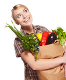 Woman holding a shopping bag Royalty Free Stock Image