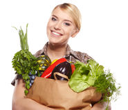 Woman holding a shopping bag Stock Photo