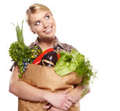 Woman holding a shopping bag Stock Photography