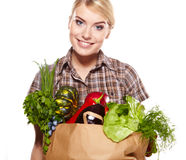 Woman holding a shopping bag Royalty Free Stock Photo
